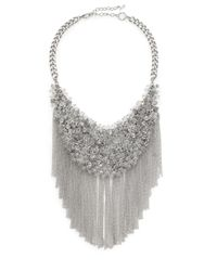 ABS By Allen Schwartz | Metallic Beaded Chain Fringe Bib Necklace | Lyst
