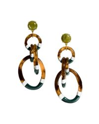 Tory Burch | Green Stripe Resin Statement Earring | Lyst