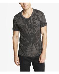 Express - Black Garment Dyed Floral Print Vneck Tee for Men - Lyst