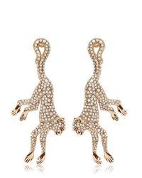 Roberto Cavalli Metallic Monkey Earrings With Swarovski Crystals
