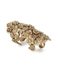 Bernard Delettrez - Metallic Bronze Floral Articulated Ring - Lyst