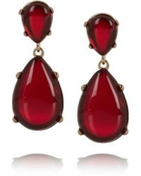 Kenneth Jay Lane - Red Gold-plated Resin Earrings - Lyst