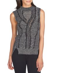 1.STATE | Black Mock Neck Marled Sleeveless Sweater | Lyst