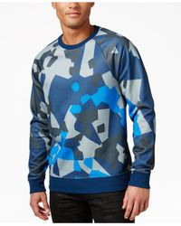 Guess | Blue Men's Compact Abstract-print Sweater for Men | Lyst