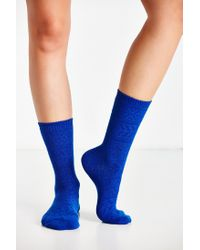 Urban Outfitters - Blue Solid Patterned Boot Sock - Lyst
