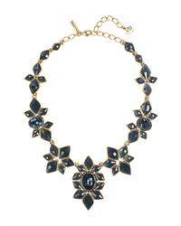 Oscar de la Renta - Blue Navy Resin & Crystal Necklace - Lyst