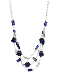 Kenneth Cole | Blue Silver-tone Shell Bead Illusion Necklace | Lyst