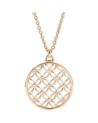 Fossil | Metallic Rose Goldtone Signature Cutout Pendant Necklace | Lyst
