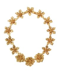 Kenneth Jay Lane - Metallic Satin Golden Flower Collar Necklace - Lyst