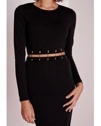 Missguided | Long Sleeve Metal Trim Midi Dress Black | Lyst