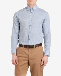 Ted Baker - Blue Ls Tl Micro Print Shirt for Men - Lyst