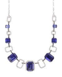 Judith Jack - Blue Sterling Silver And Multi-Crystal Frontal Necklace - Lyst