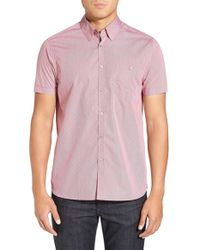 Ted Baker | Red 'bwenno Dobby' Slim Fit Short Sleeve Sport Shirt for Men | Lyst