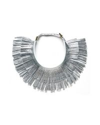hayden-harnett | Metallic 'ilaria' Leather Fringe Collar Necklace | Lyst