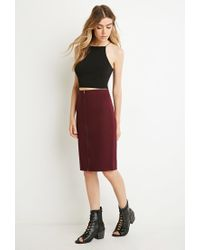 Forever 21 - Red Zipped Pencil Skirt - Lyst