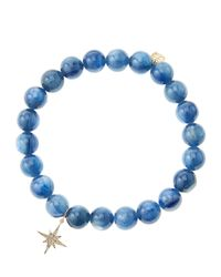 Sydney Evan | Blue Kyanite Round Beaded Bracelet With 14K Gold/Diamond Small Starburst Charm (Made To Order) | Lyst