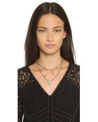 Ela Rae - Gray Cleo Cage Necklace - Iolite/pyrite - Lyst