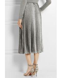 Cedric Charlier Metallic Pleated Silk-Blend Lamé Midi Skirt