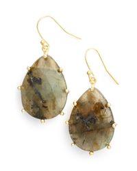 Panacea - Metallic Stone Teardrop Earrings - Labradorite - Lyst