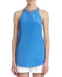 3.1 Phillip Lim - Blue Beaded-neck Silk Sheer-back Top - Lyst