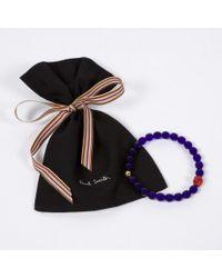 Paul Smith Purple Men's Violet Beaded Skull Bracelet for men