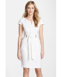 Ellen Tracy | White Belted Stretch Sheath Dress | Lyst