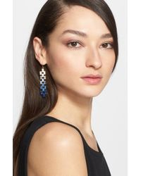 St. John | Metallic Degrade Baguette Crystal Earrings | Lyst