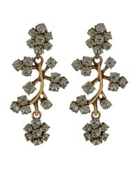 Oscar de la Renta - Gray Crystal Branch Clip-on Earrings - Lyst