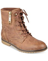Tommy Hilfiger | Brown Minny Combat Booties | Lyst