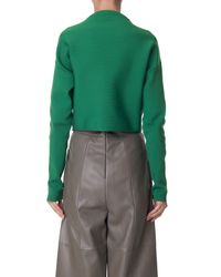 Tibi | Green Structured Mock Neck Cropped Pullover | Lyst