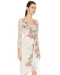Marchesa | White Lace Cocktail Dress - Ivory | Lyst