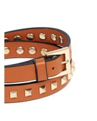 Valentino | Brown Rockstud Double Wrap Leather Bracelet for Men | Lyst
