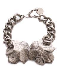 Alexander McQueen - Metallic Flower Choker - Lyst