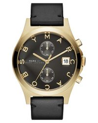 Marc Jacobs - Metallic Chronograph Leather Strap Watch - Lyst