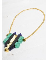 Lily Kamper | Blue Turquoise Resin, Gold And Perspex Lunar Necklace | Lyst