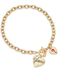 Guess | Metallic Gold-tone Two Heart Charm Toggle Necklace | Lyst