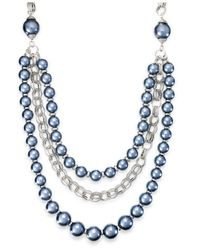 Macy's - Blue Ali Khan Imitation Pearl Three-row Frontal Necklace - Lyst