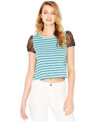 Kensie | Blue Lace-sleeve Striped Tee | Lyst