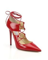 Jimmy Choo | Red Hoops Lace-up Leather Pumps | Lyst