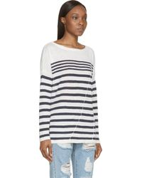 Rag & Bone | White And Navy Knit Linen Christa Pullover | Lyst