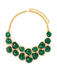 Kenneth Jay Lane | Green Nugget Stone Crystal Bib Necklace | Lyst