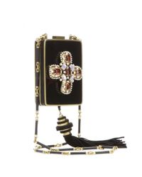 Tory Burch Black Embellished Box Clutch with Shoulder Strap