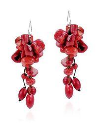 Aeravida | Cluster Drop Red Coral .925 Silver Earrings | Lyst