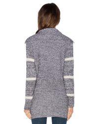 Splendid - Gray Stripe Cardigan - Lyst