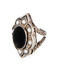 Gucci | Black Pearl, Velvet And Palladium-Plated Ring | Lyst