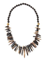 Nest | Black Agate & Horn Bead Necklace | Lyst