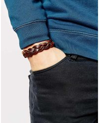 ASOS | Plaited Leather Bracelet In Brown for Men | Lyst