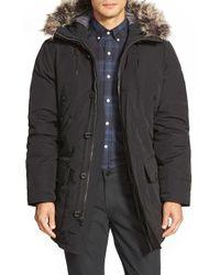 Michael Kors Black Long Hooded Parka With Faux Fur Trim for men