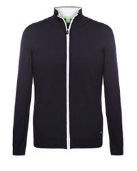 BOSS Green | Blue Sweatshirt Jacket: 'zeen' In New Wool for Men | Lyst