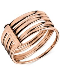 Calvin Klein | Metallic Rose Gold-Tone Polished Bangle Bracelet | Lyst